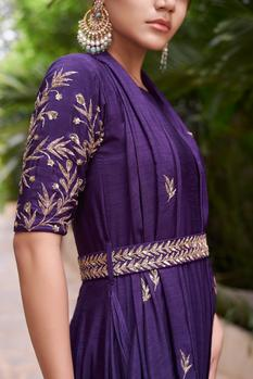 Embroidered Draped Anarkali with Belt