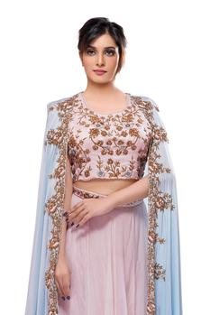 Embroidered Organza Lehenga Set with Silk Cape