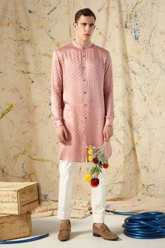 Printed Cotton Silk Kurta & Pant Set