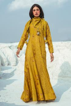 Printed Anarkali with Scarf