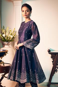 Chanderi Silk Anarkali & Pant Set