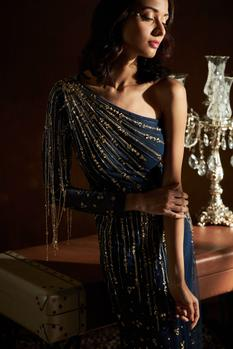 Hand Embroidered One Shoulder Gown