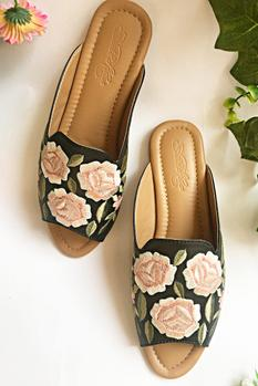 Floral Embroidered Open Toe Mules