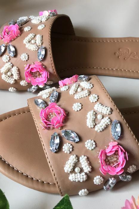 Floral Embellished Sliders