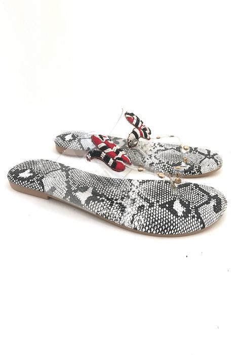 Clear Strap Animal Print Sandals