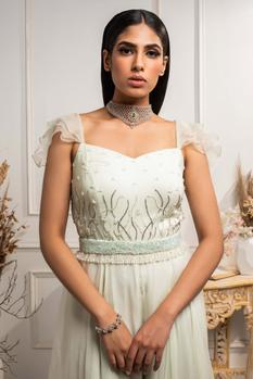 Hand Embroidered Organza Jumpsuit