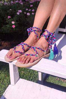 Lace Up Braided Sandals