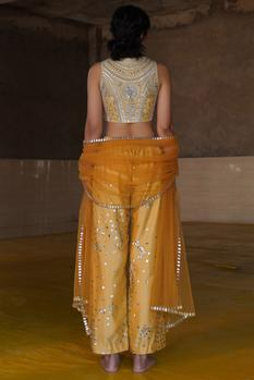 Chanderi Embroidered Pant Set
