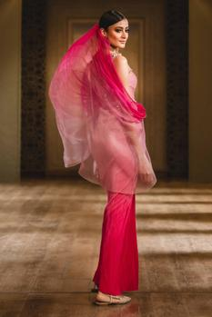 Crinkled Draped Saree Gown