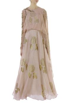 Embroidered gown with attached cape