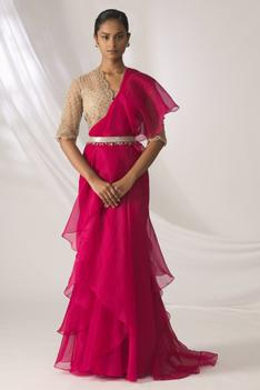 Pre-Draped Ruffle Saree with Blouse