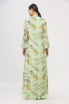 Maxi Dress with Printed Jacket