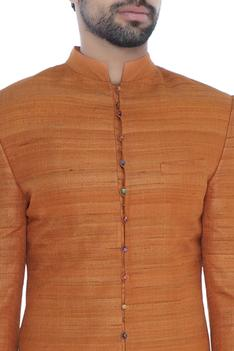 Orange solid handloom silk achkan with printed lining