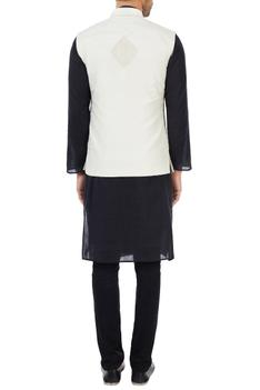Off-white hand embroidered organic silk nehru jacket