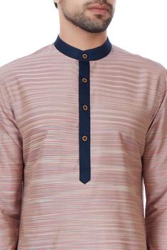 Multicolored short kurta with contrast colored placket