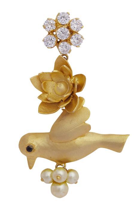 Bird motif earrings