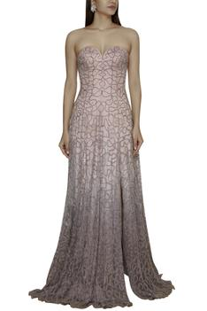 Embroidered Tail Gown