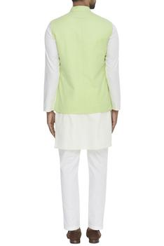 Linen Floral Embroidered Nehru Jacket