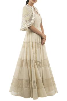 Anarkali With Embroidered Cape