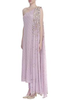 Embroidered one shoulder kurta with churidar