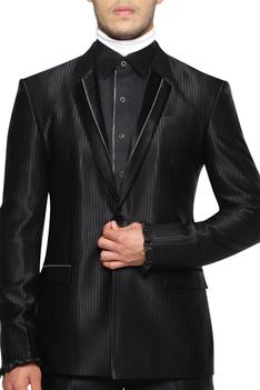 Lapel Collared Jacket With Striped Trousers