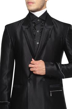Double Breasted Lapel Collared Suit With Striped Trousers