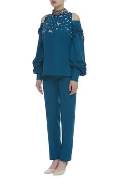 Hand embroidered cold shoulder top with pant