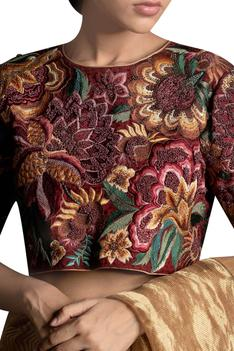 Floral bead embroidered blouse