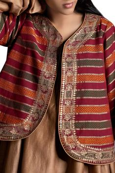 Embroidered block printed jacket