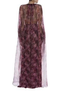 Sequin embroidered bustier & palazzo set with cape