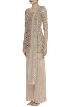 Mirror Embroidered Kurta Sharara Set