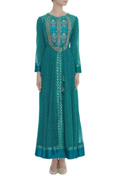 Embroidered Anarkali With Pants & Dupatta