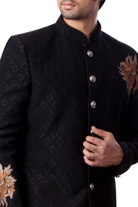 Textured sherwani set