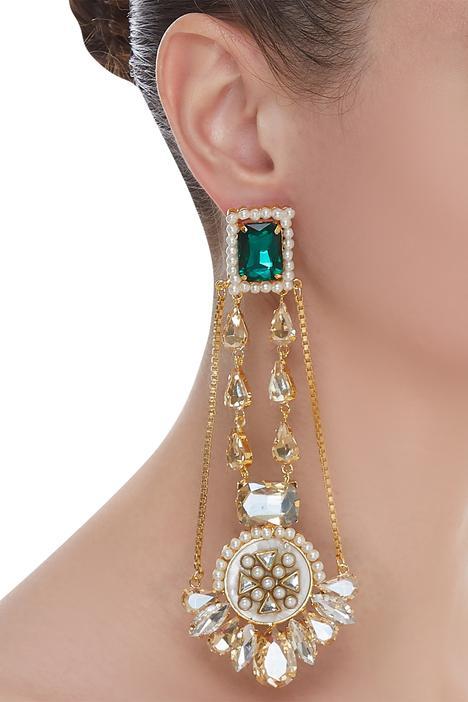 Crystal & bead earrings