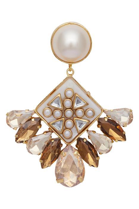 Geometric kundan earrings
