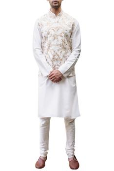 Embroidered Bundi,Kurta & Churidar Set