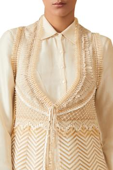 Embroidered Tie Up Gilet