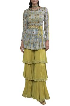Printed peplum kurta sharara set