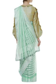 Organza Striped Saree With Blouse