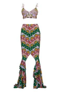 Embroidered Bustier Skirt Set