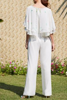 Embroidered Cape Jumpsuit