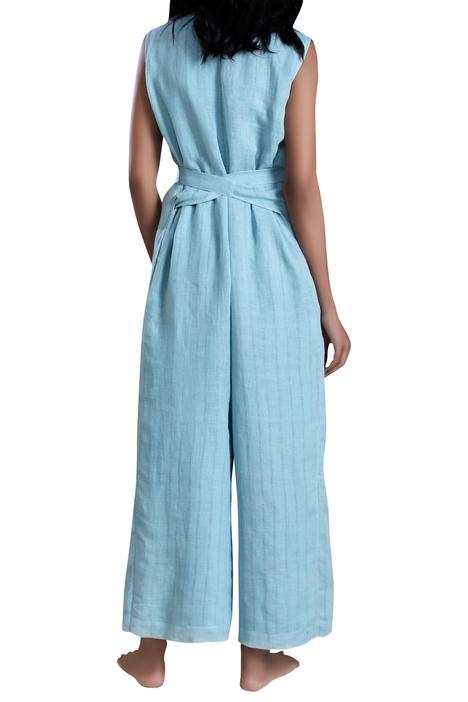 Linen Cotton Overlap Jumpsuit