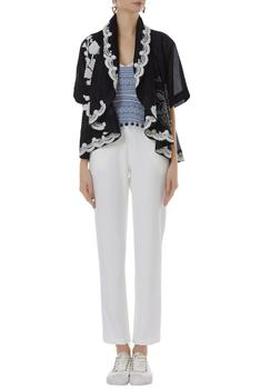 Embroidered Draped Jacket