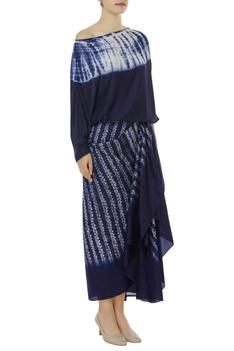Pure Silk Tie Dye Top With Skirt