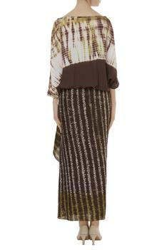 shibori and bandhani Draped skirt set