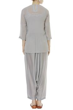 Chikankari Embroidered Kurta With Draped Pants