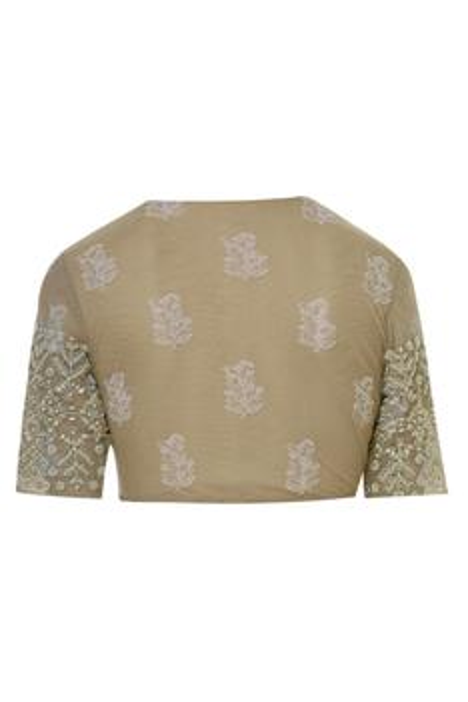 Pre-Draped Floral Print Saree Set