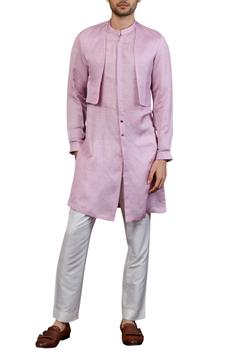 Linen silk layered kurta set