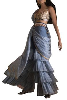 Embroidered Blouse With Draped Sharara & Belt