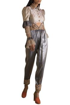 Embroidered Crop Blouse With Pleated Pants